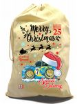 X-Large Cotton Drawcord Koolart Christmas Santa Sack Gift Bag And Subaru Impreza WRX STi Image